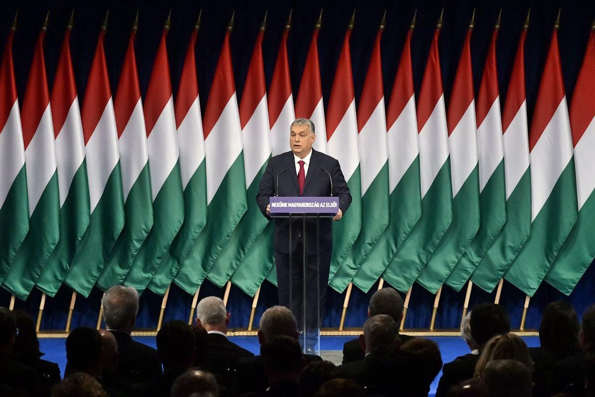 Orbán Viktor miniszterelnök hagyományos évértékelő beszédét tartja a Várkert Bazárban 2020. február 16-án.