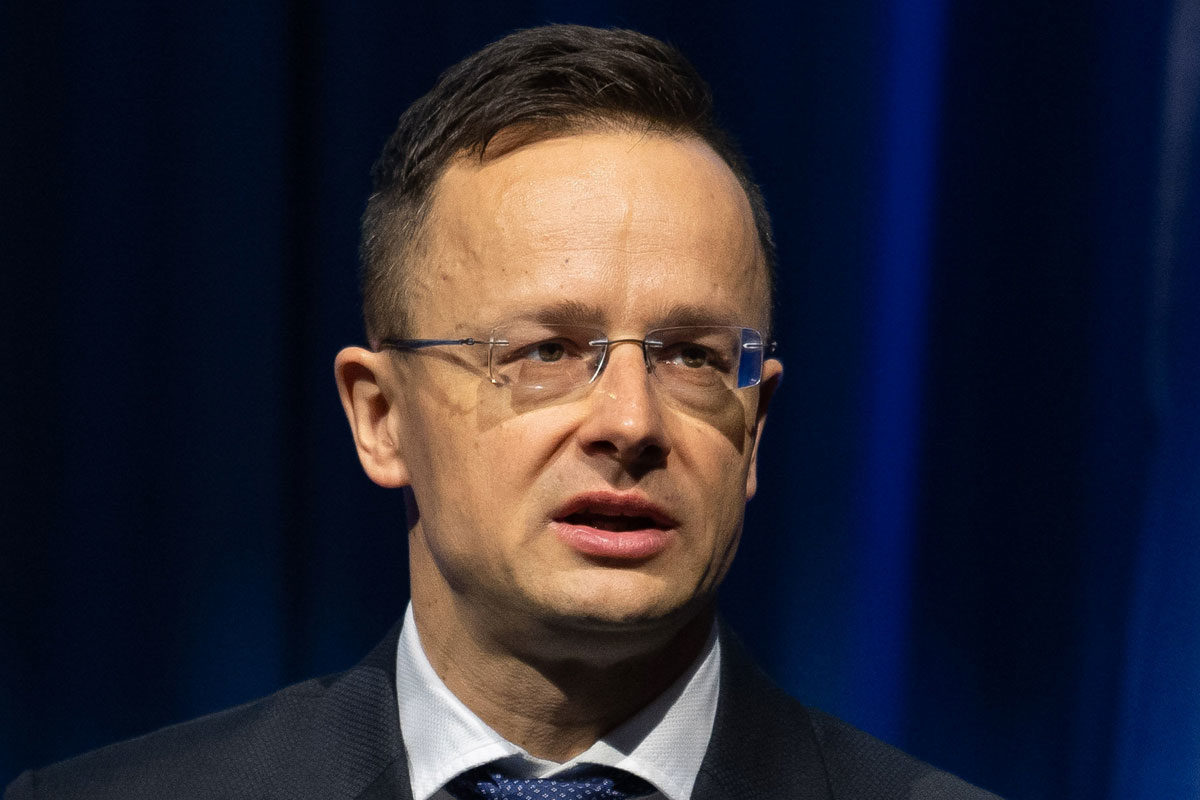Szijjártó Péter külgazdasági és külügyminiszter felszólal a nemzetközi atomenergiai konferencián Bécsben 2020. február 10-én.