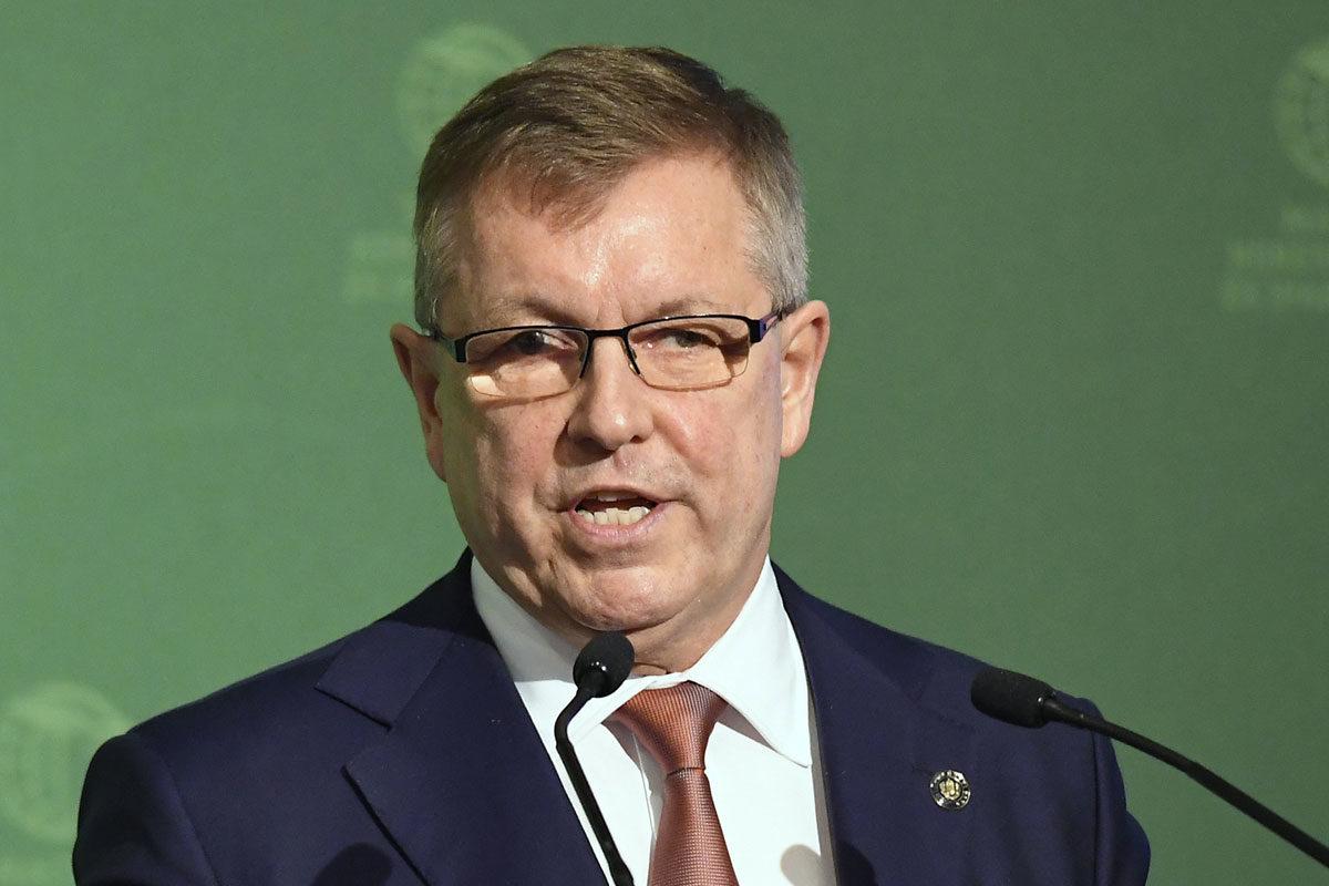 Matolcsy György, a Magyar Nemzeti Bank elnöke beszédet mond a Magyar Kereskedelmi és Iparkamara (MKIK) gazdasági évnyitóján az InterContinental Budapest szállóban 2020. március 10-én.