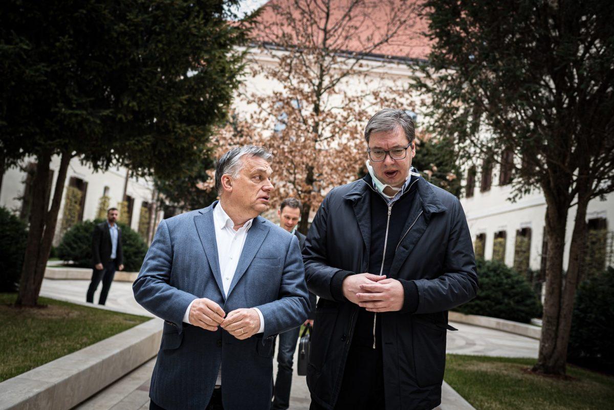 Orbán Viktor miniszterelnök és Aleksandar Vucic, Szerbia elnöke Belgrádban 2020. márciusában.