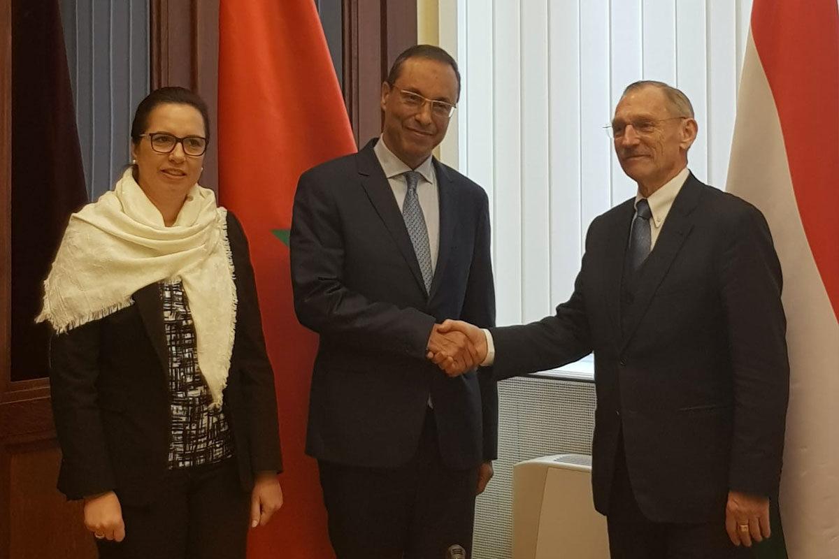 Pintér Sándor belügyminiszter és Abdelkader Amara marokkói közlekedési és vízügyi miniszter találkozója Budapesten.