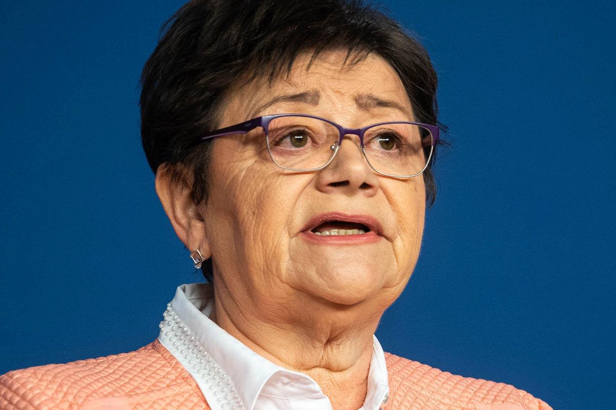 Müller Cecília országos tisztifőorvos a koronavírus-fertőzés elleni védekezésért felelős operatív törzs online sajtótájékoztatóján 2020. április 10-én.