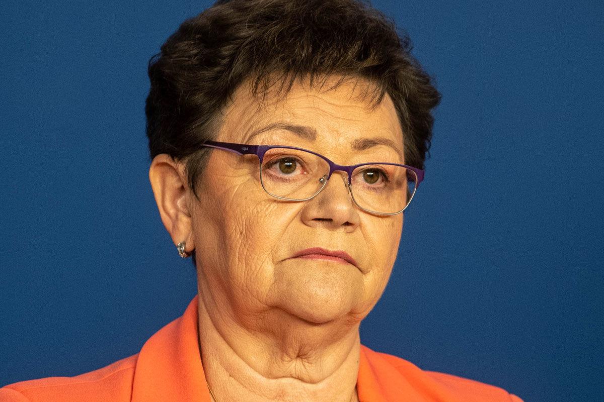 Müller Cecília országos tisztifőorvos a koronavírus-fertőzés elleni védekezésért felelős operatív törzs online sajtótájékoztatóján 2020. április 22-én.