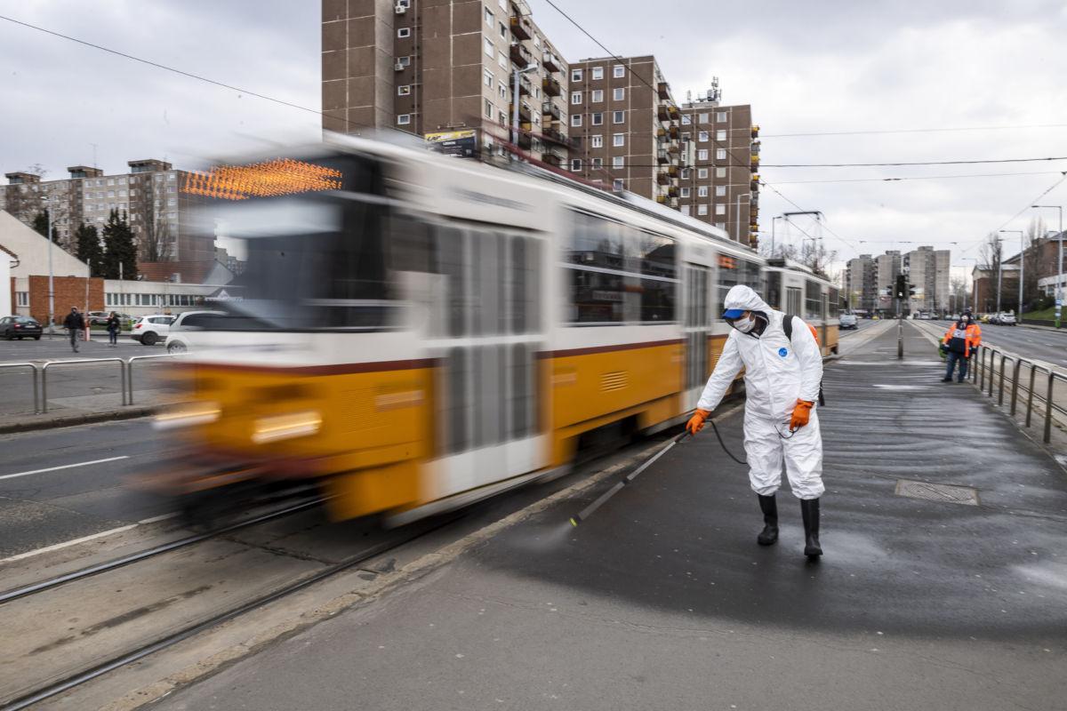 Villamosmegálló peronját fertőtleníti a Fővárosi Közterület-fenntartó (FKF) Zrt. munkatársa a koronavírus-járvány miatt Újpest-Központnál 2020. március 25-én.