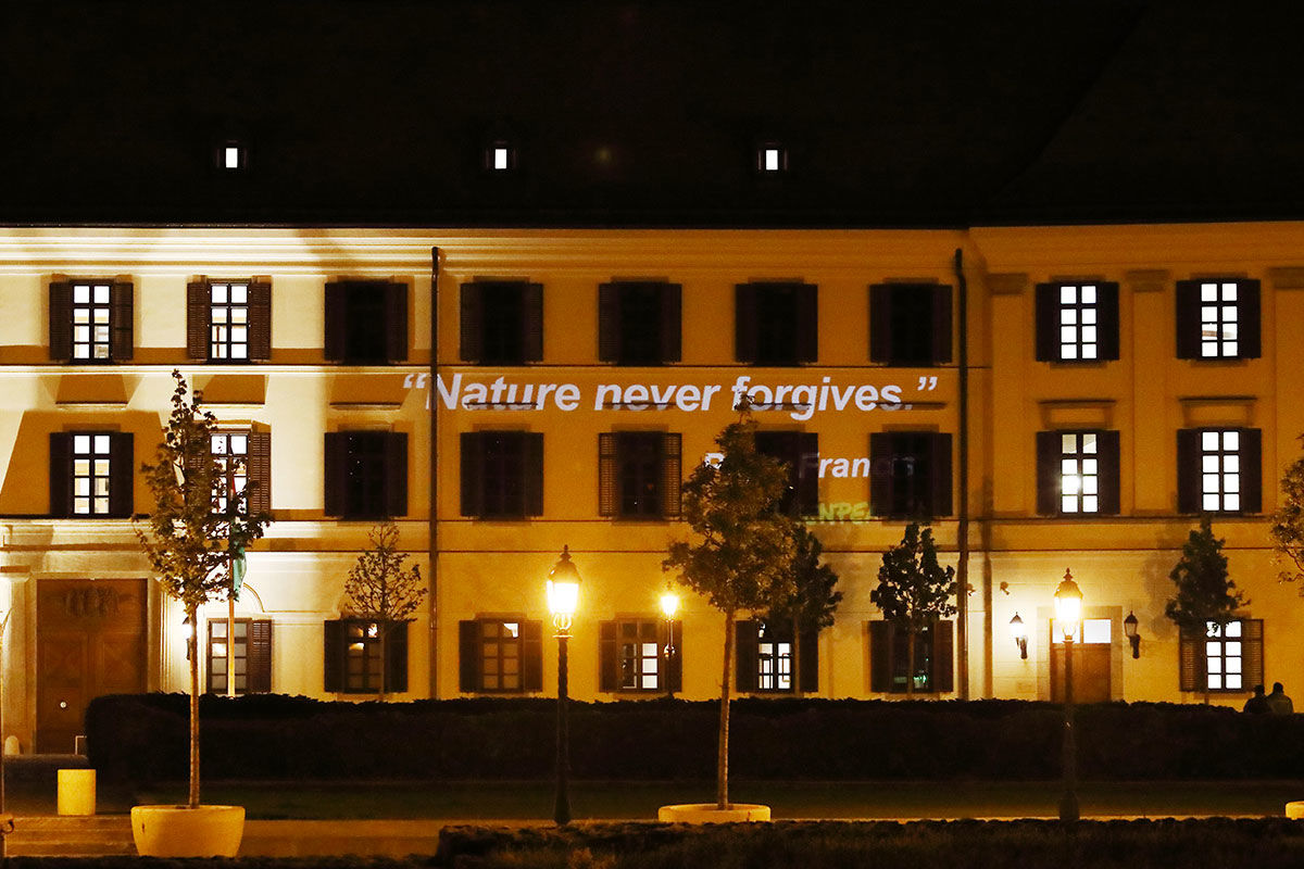 """A Greenpeace üzenete a a miniszterelnök """"puritán"""" Karmelita kolostorának falán."""