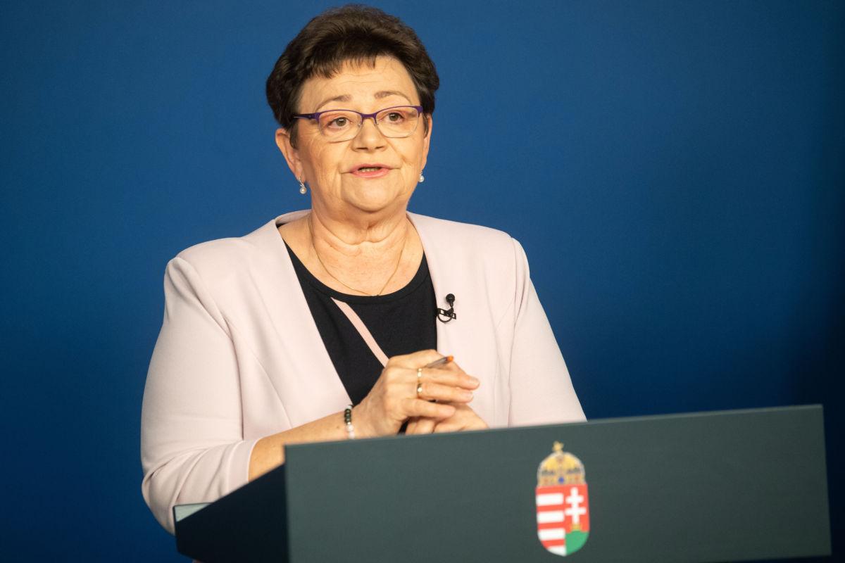 Müller Cecília országos tisztifőorvos a koronavírus-fertőzés elleni védekezésért felelős operatív törzs online sajtótájékoztatóján 2020. május 8-án.