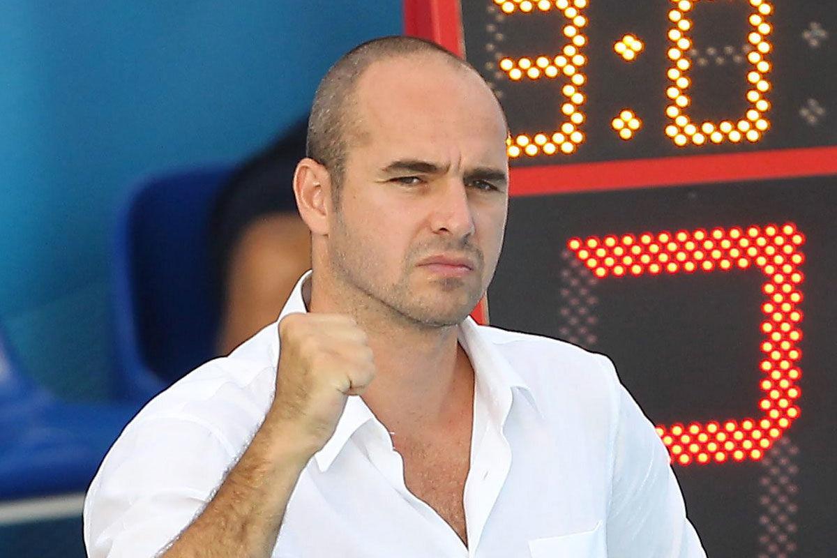Benedek Tibor háromszoros olimpiai aranyérmes, világ- és Európa-bajnok vízilabdázó, a magyar férfi válogatott korábbi szövetségi kapitánya 2013. július 28-án a barcelonai vizes világbajnokságon.
