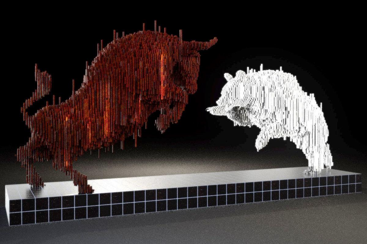 A medvét és bikát ábrázoló szobor látványterve.