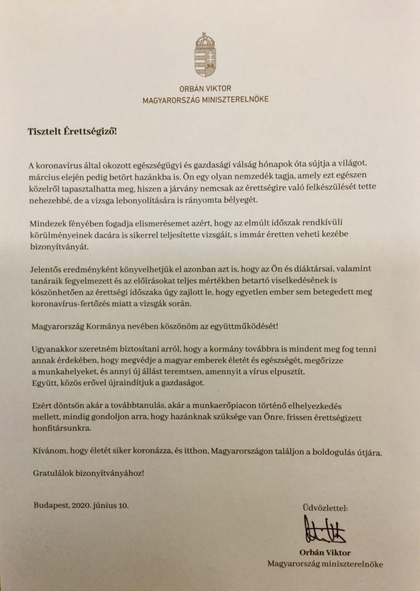 Orbán Viktor miniszterelnök levele az idén érettségizettekhez.