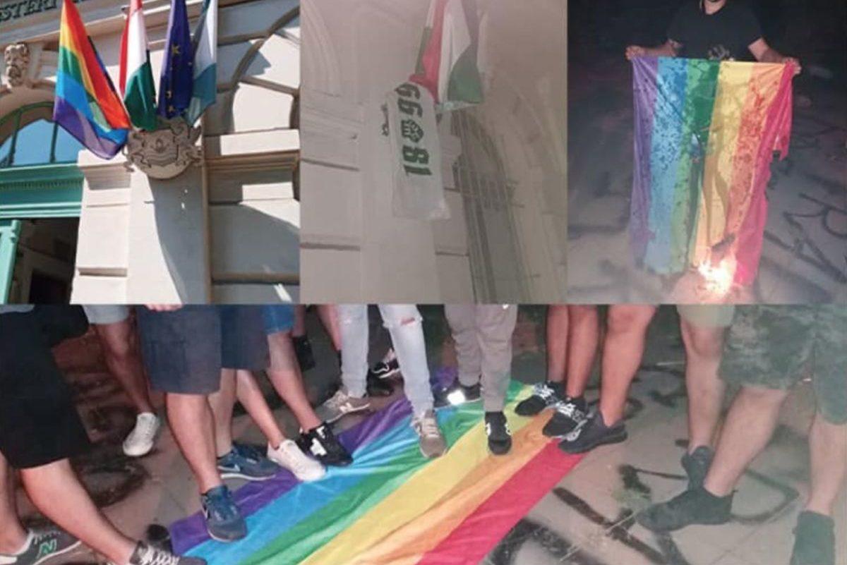 Fradi-szurkolók letépték a szivárványos zászlót a ferencvárosi városházáról