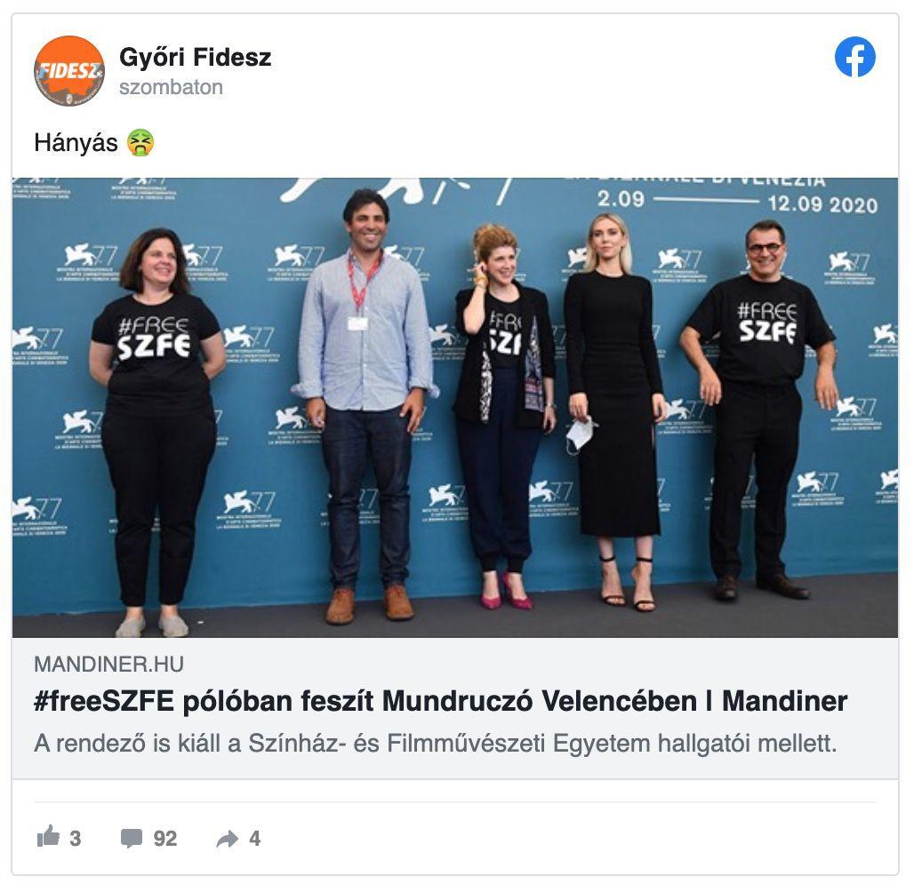 A Győri Fidesz Facebook-oldalának szombati posztja (a bejegyzés hétfőn dél előtt nem sokkal több száz dühös kommenttel együtt eltűnt az oldalról).