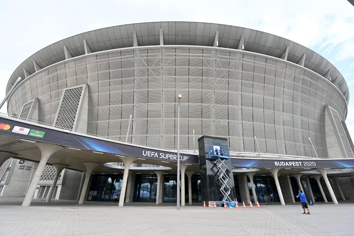 A Puskás Aréna az Európai Szuperkupa döntője, a Bayern München - Sevilla mérkőzés előtti napon 2020. szeptember 23-án.
