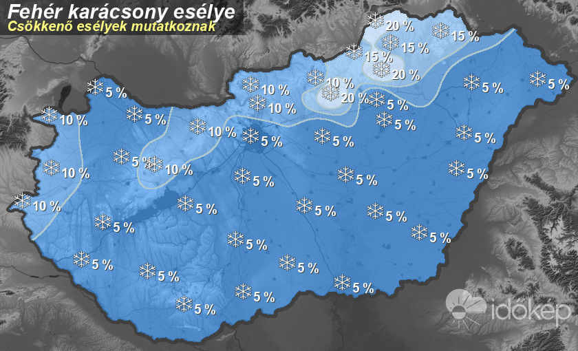 A fehér karácsony esélye Magyarországon 2020-ban.
