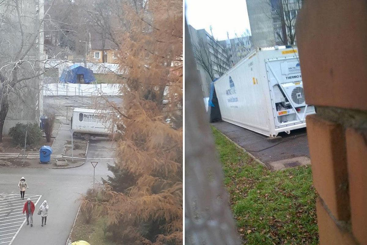 Halotthűtő konténert vittek a nyíregyházi kórház udvarára