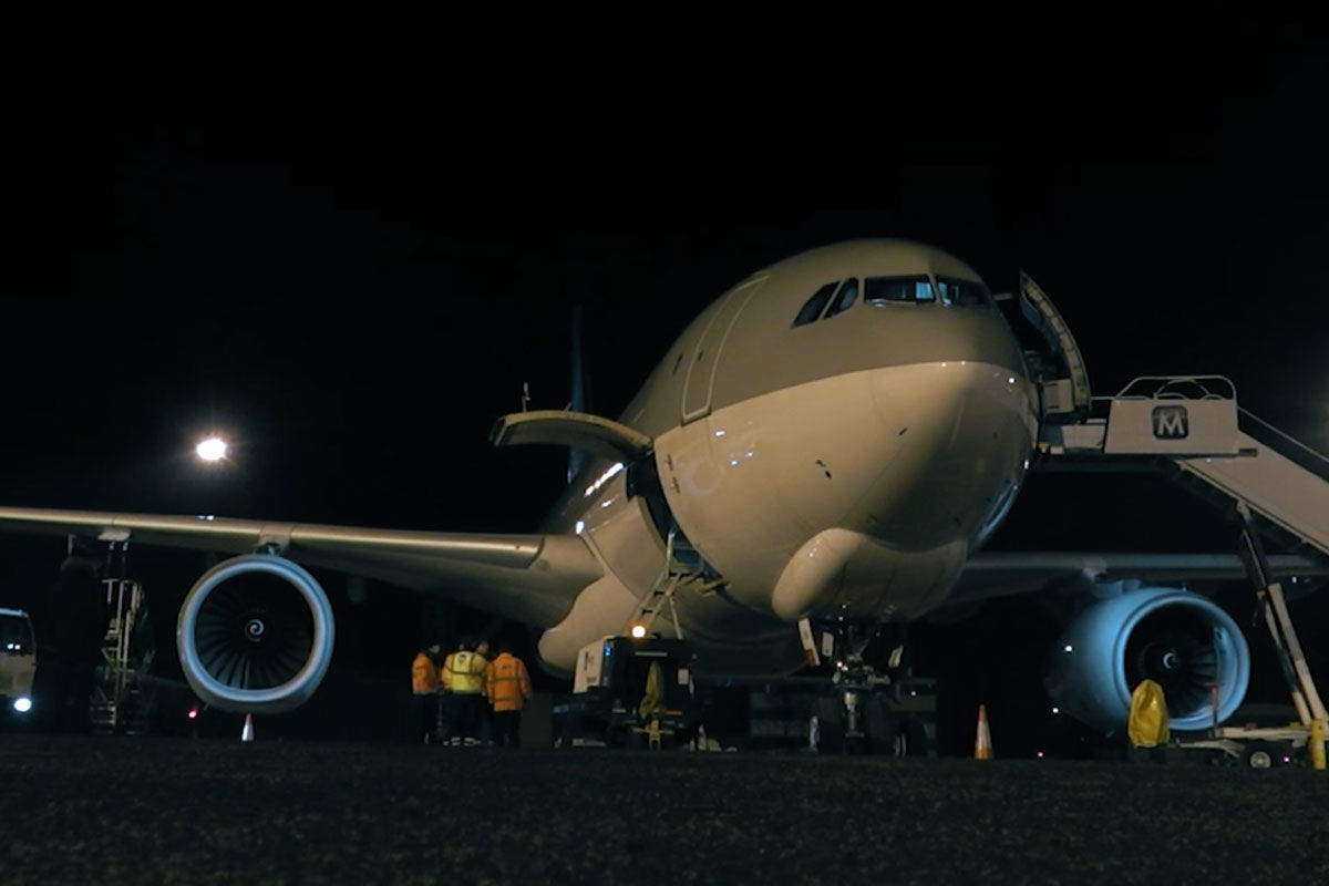 Az Airbus A330-200F típusú áruszállító gép.