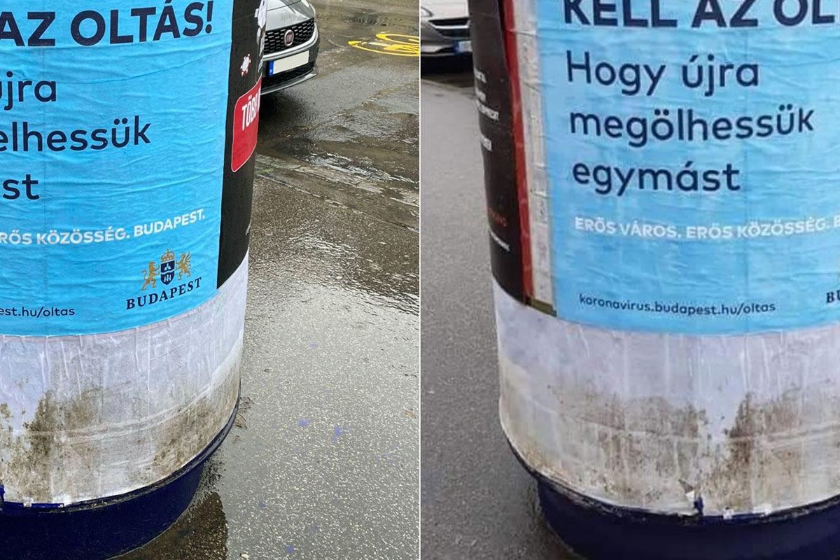 Az eredeti és a manipulált plakát.