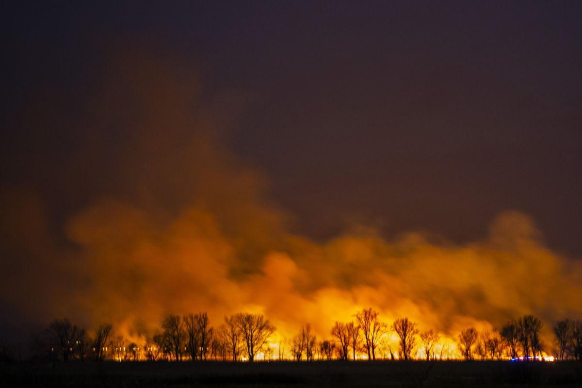 Az égő nádas Fonyód külterületén 2021. február 27-én éjjel. A tüzet február 28-án hajnalra eloltották; mintegy százhúsz hektáron égett le a terület.