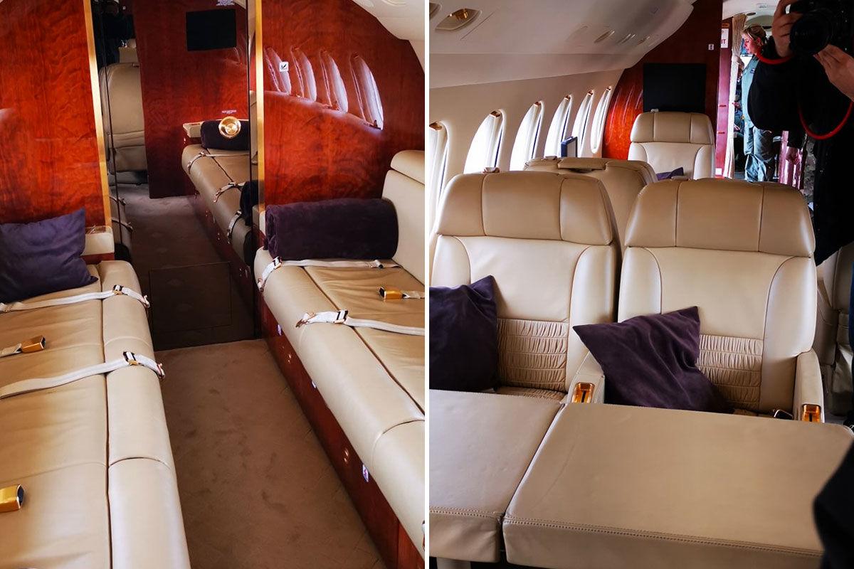 A Magyar Honvédség egyik Dassault Falcon 7X típusú luxusrepülőjének belseje.