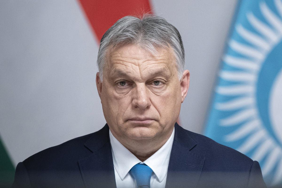 Orbán Viktor miniszterelnök a Türk Tanács ülésén vesz részt a járványhelyzetre való tekintettel online, videokonferencia formájában Budapesten, a Karmelita kolostorban 2021. március 31-én.