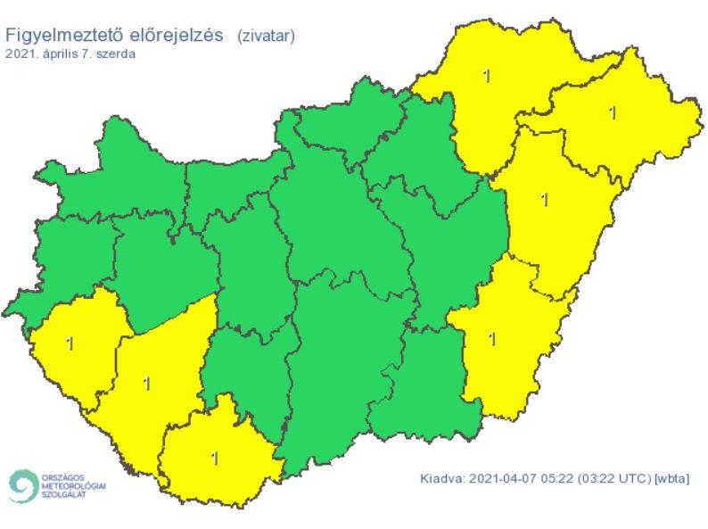 Figyelmeztetés a várható zivatarok miatt 2021. április 7-én.