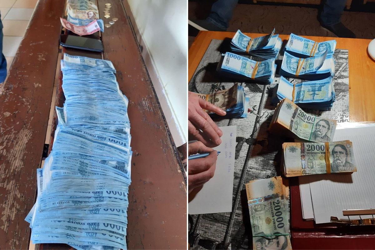 A tolvajtól lefoglalt pénz a rendőrség fotóin.