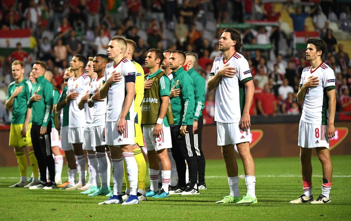 A magyar válogatott játékosai a Magyarország - Írország barátságos labdarúgó-mérkőzés után Budapesten, a Szusza Ferenc Stadionban 2021. június 8-án. Magyarország-Írország 0-0.