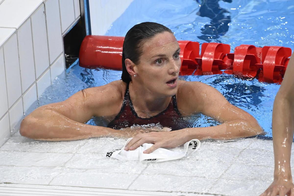 Hosszú Katinka a női 400 méteres vegyesúszás döntője után a tokiói nyári olimpián a Tokiói Vizes Központban 2021. július 25-én.