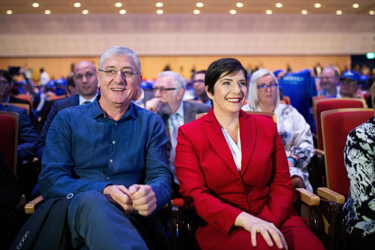 Gyurcsány Ferenc, a Demokratikus Koalíció (DK) elnöke, volt szocialista miniszterelnök és felesége, Dobrev Klára, a párt miniszterelnök-jelöltje a DK XI. kongresszusán és ellenzéki előválasztási kampánynyitó rendezvényén a Kongresszusi Központban 2021. augusztus 29-én.