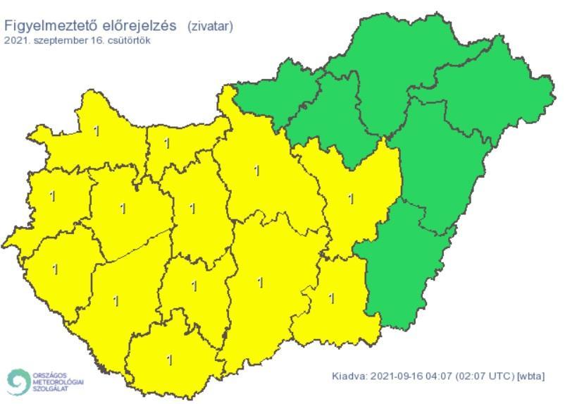 Figyelmeztetés a várható zivatarok miatt 2021. 09. 16-ra.